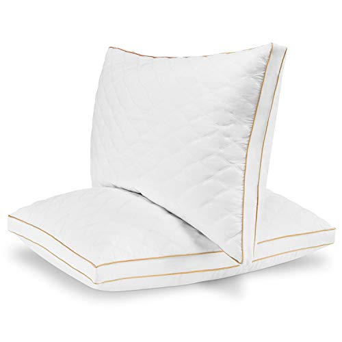 Italian Luxury Quilted Pillow (2-Pack) - Hotel Quality Plush Gel Fiber Filled Pillow with Quilted Cover and Sateen Piping - Hypoallergenic - Queen