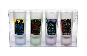 NEW Disney Parks Star Wars Shot Glasses Set of 4 Mickey Goofy Stitch Chip & Dale