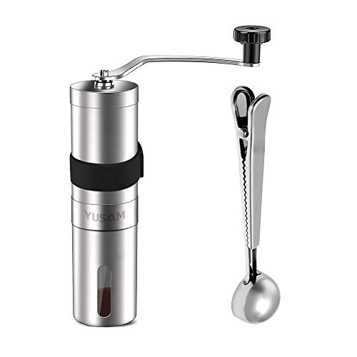 Manual Coffee Grinder, Brushed Stainless Steel Portable Hand Burr Coffee Bean Grinder Adjustable Ceramic Conical Burr Coffee Bean Mill with Spoon & Rubber Sleeve for Home Office Traveling Camping