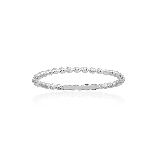 Sterling Silver Polished Thin Bead Simple Stackable Band Ring, Size ()