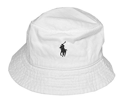 - RALPH LAUREN Men's Bucket Hat (White/Black Pony)