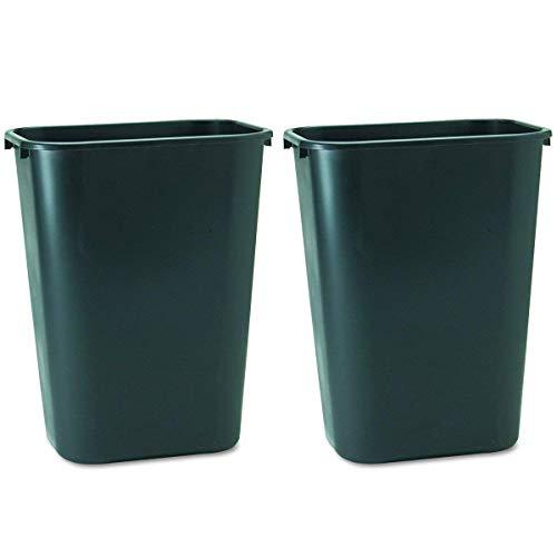 Rubbermaid Commercial 295700BK Deskside Plastic Wastebasket, Rectangular, 10 1/4 gal, Black 2 Pack