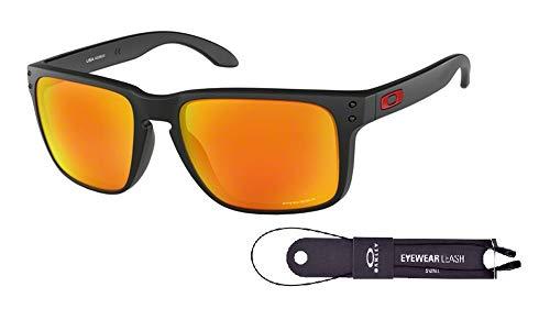 Oakley Holbrook XL OO9417 941704 59M Matte Black/Prizm Ruby Sunglasses For Men+BUNDLE with Oakley Accessory Leash Kit (Oakley Prizm Sonnenbrille)