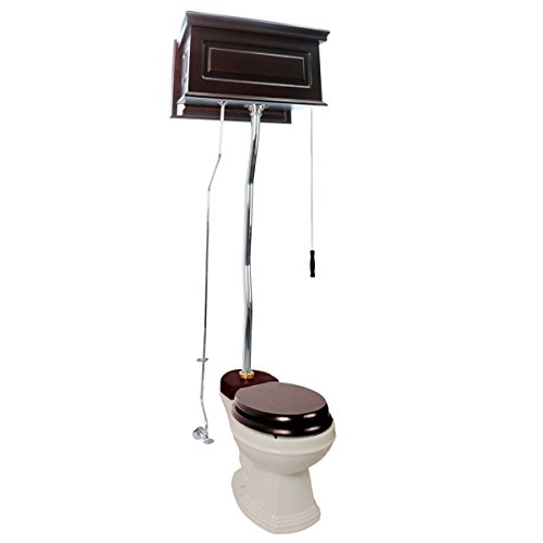 Dark Oak High Tank Pull Chain Toilet Raised Round Toilet Bowl And -