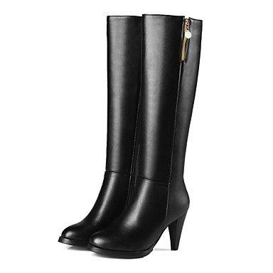 RTRY Zapatos De Mujer Polipiel Moda Invierno Botas Botas Chunky Talón Puntera Redonda Rodilla Botas Altas Para Vestimenta Casual Negro Beige US9.5-10 / EU41 / UK7.5-8 / CN42