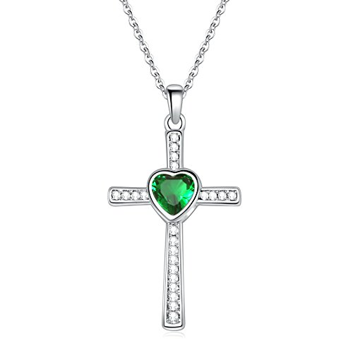Sunflower Jewellery Birthstones Cross Necklace Heart Crystal Pendant Necklace For Women (5-May) (Crystal Cross Necklace Stone)