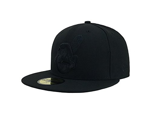 New Era 59Fifty Men's Hat Cleveland Indians MLB Baseball Black/Black Fitted Cap (7 1/8) ()