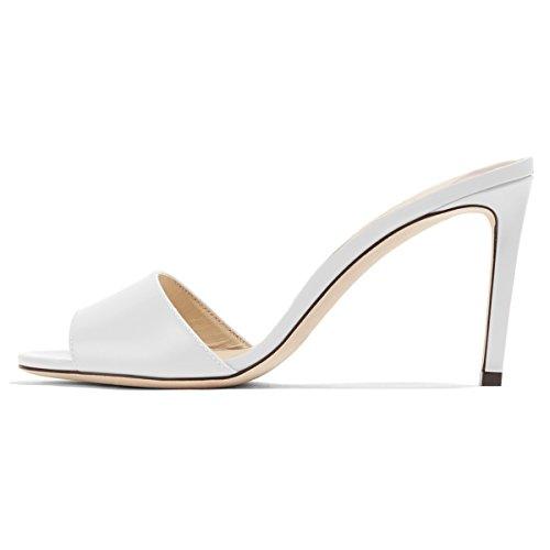 FSJ Women Casual Peep Toe Mule Sandals Stiletto High Heels Party Evening Shoes Size 7 White