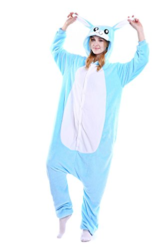 Blue Bunny Adult Pajamas Cosplay Costume Jumpsuit Playsuit Outfits S -