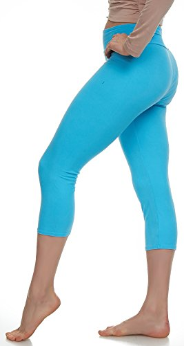 (LMB Lush Moda Extra Soft Capri Leggings - Variety of Colors - Yoga Waist - Aqua)