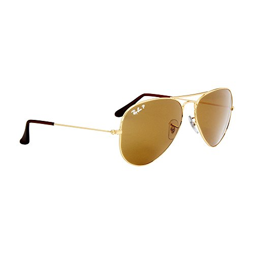 61345a2072 Amazon.com  Ray-Ban Aviator 3025 Gold Frame Brown Polarized RB 3025 001 57  58mm Small NEW  Clothing