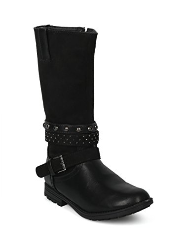 Alrisco Girls Mixed Media Wrap Around Studded Tall Riding Boot HG00 - Black Mix Media (Size: Little Kid 1) ()