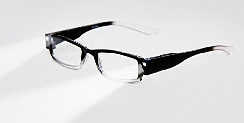 EVIDECO LED Reading Glasses with Light, LG Black Optic By Finess Power +1.5