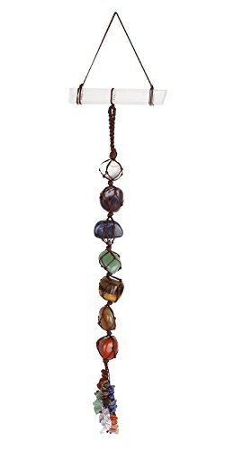 Top Plaza 7 Chkara Gemstones Reiki Healing Crystals Hanging Ornament Home Indoor Decoration for Good Luck,Yoga Meditation,Protection - Tumbled Palm Stones with Selenite Crystal Bar