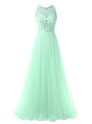Dress Beading Green Long Dresses for Callmelady Women Prom Evening Formal Tulle Mint YHnqPTPZ