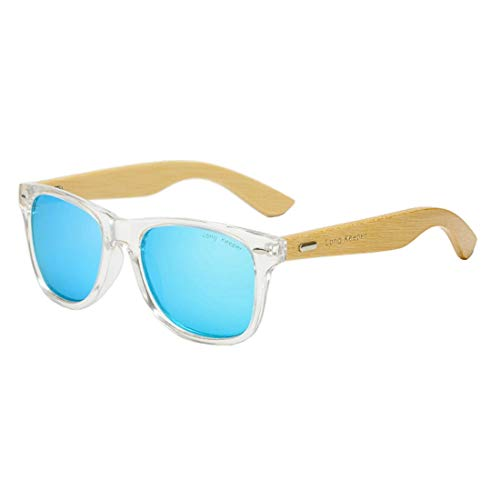 Polarized Bamboo Wood Arms Sunglasses Classic Women Men Driving Glasses by Long Keeper (Transparent, Blue)