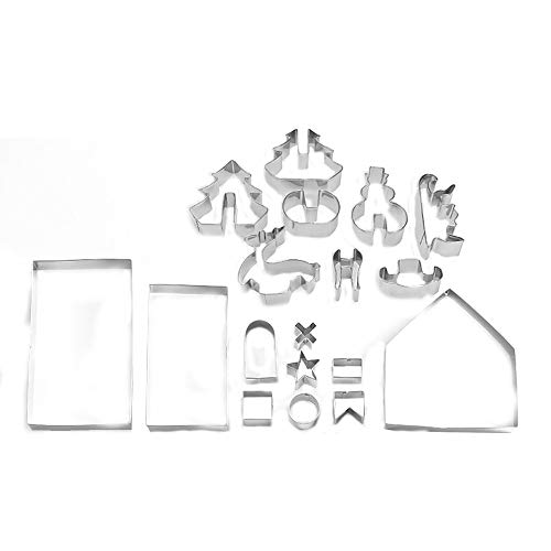 Hongxin DIY Stainless Steel Christmas Gingerbread House Cake Biscuit Baking Pastry Tool (Sliver)
