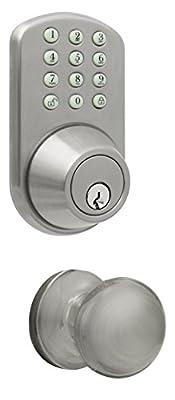 MiLocks TFK-02SN Digital Deadbolt Door Lock and Passage Knob Combo with Keyless Entry via Keypad Code for Exterior Doors, Satin Nickel