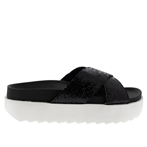 Cruzada Ponerse Negro Zapatos Correa Correa Mujer Resplandecer Verano Sandalias Moda Plataforma tqPw8v