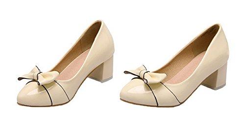 AgooLar Damen Mittler Absatz Blend-Materialien Ziehen auf Schließen Zehe Pumps Schuhe Cremefarben