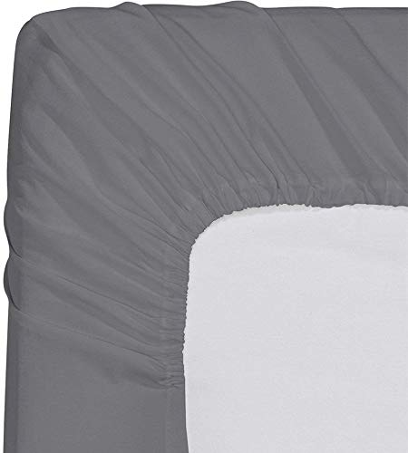 Utopia Bedding Premium Cotton Fitted Sheet Thread Count 300 (Full, Grey) – 100% Combed Cotton Sateen - Super Soft Mercerized Fabric - Machine Washable