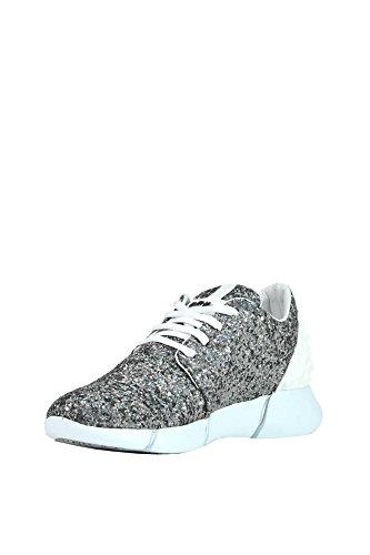 Elena Iachi Ladies Mcglcak03101e Sneakers In Tessuto Argento / Bianco