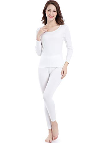 Women Thermal Underwear Plus Size Base Layer Clothes Scoop Neck Light Long Johns Ivory -