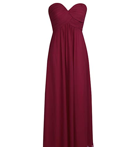 Strapless Chiffon Gown - YiZYiF Sweetheart Bridesmaid Chiffon Prom Dresses Strapless Long Evening Gowns Burgundy 10