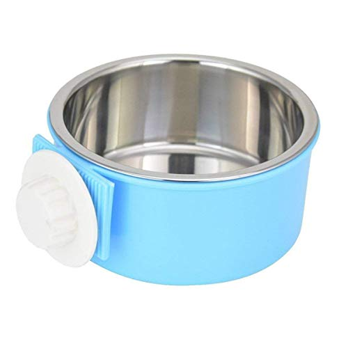 (PETLESO Stainless Steel Bowl Dog Crate Bowl Water and Feed Bowl for Pet Dog Cat Bird with Dog Training Clicker - Blue)