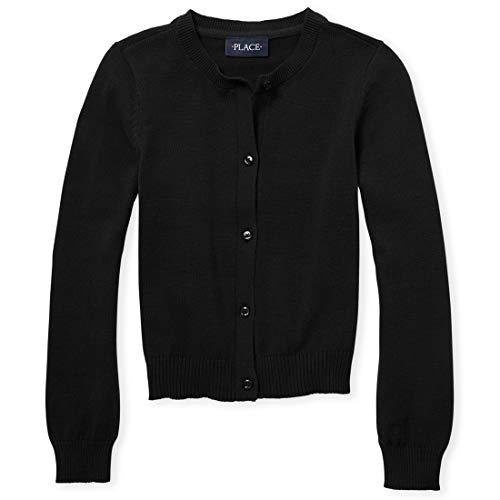 The Children's Place Big Girls' Uniform Cardigan Sweater, Black 44422, Large/10/12