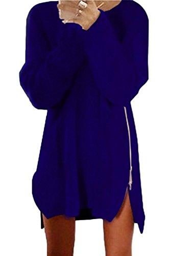 Las Mujeres Suéter De Manga Larga Vestido Mini Cremallera Lateral Suelto Sapphire