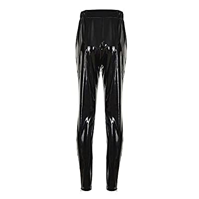Orangeskycn Womens Leather High Waist Leggings Stretch Trousers Stage Pants