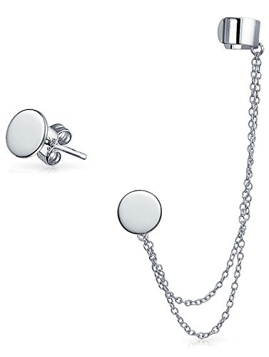 [Sterling Silver Round Double Chain Linked Ear Cuff Stud Set] (Double Linked Chain)