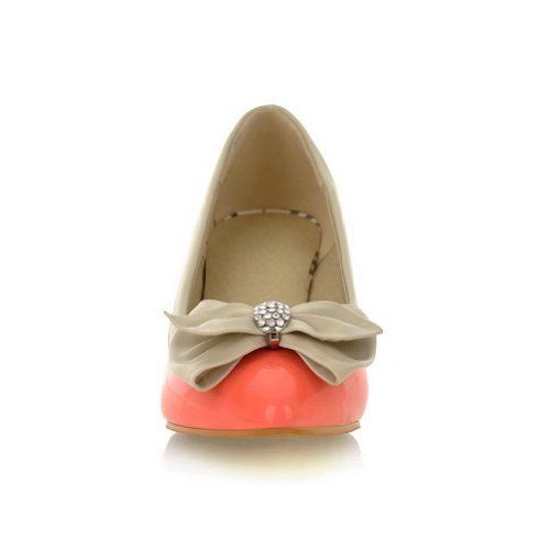 with Females Pumps Pink M Toes B Pointed Solid Closed US PU 5 Stiletto Rhinestone and Bowknot 8 WeenFashion 0Yq7wdd