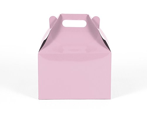 12CT (1 Dozen) Large Biodegradable Kraft / Craft Favor Treat Gable Boxes (Large, Light Pink) by Gift Expressions