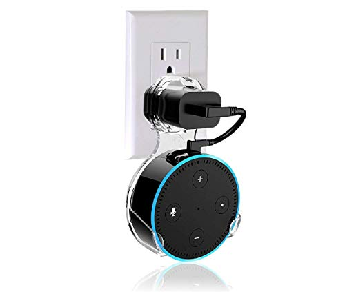LAKatya Outlet Wall Mount Stand Hanger with Short Charging Cable,Smart Home Speaker Mount without Messy Wires or Screws (Transparent) by LAKatya