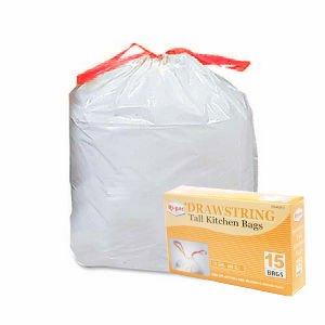 105pcs 13ガロンDrawstringホワイトTallキッチンゴミ袋 B005TA2JC8