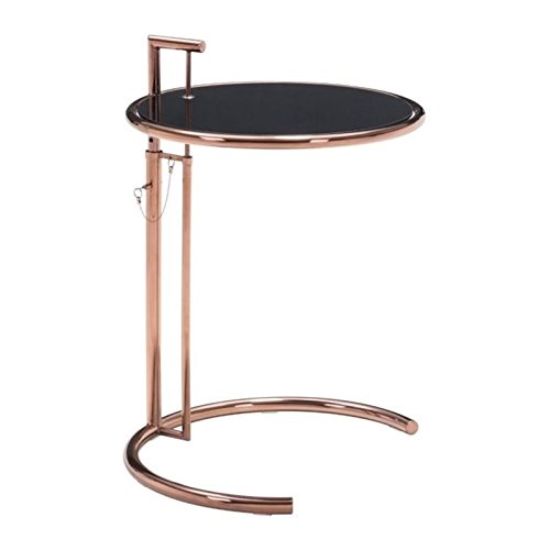 (Zuo Modern 100339 Eileen Grey Table, Rose Gold, Updated Rich Black Tempered Glass Top, Adjustable Height Lock and Pin Design, 150 lbs Weight Capacity, Dimensions 23.6
