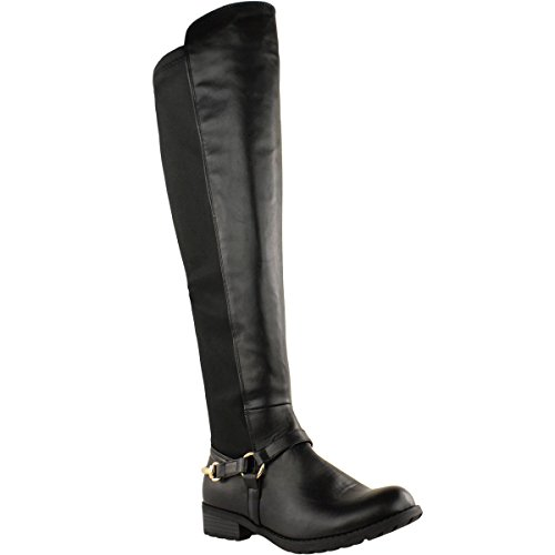 High Leg Leather Boots (Fashion Thirsty Womens Over The Knee Thigh High Stretch Pull On Low Flat Heel Boots Shoes Size 8)