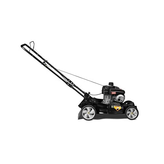 Yard Machines 140cc OHV 21-Inch 2-in-1 Push Walk-Behind  Gas Powered Lawn Mower 3 POWERFUL ENGINE:  140cc engine equipped with recoil start and primer MUTLIPLE HEIGHT SETTINGS: Dual lever height adjuster with 6 different height settings 2-IN-1 CUTTING DECK: Side discharge and mulching capabilities