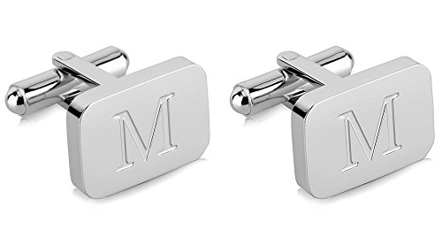 White-Gold Plated Monogram Initial Engraved Stainless Steel Man's Cufflinks With Gift Box -Personalized Alphabet Letter's By Lux & Pier (M- White Gold)