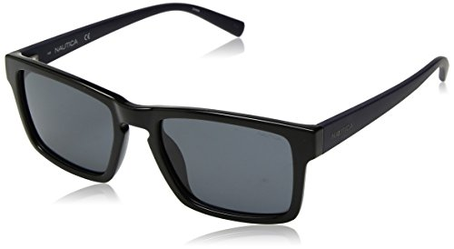 Nautica Men's N3627sp Polarized Rectangular Sunglasses, BLACK, 56 mm