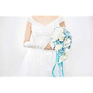 Abbie Home Light Blue Calla Lily White Dahlia Cascading Bridal Bouquets - Silk Flowers for Beach Wedding with Ribbon and Lace Décor (A Cascading Bouquet) 4