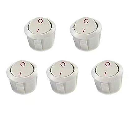 en paquete de 5 unidades SUNXIN Interruptor basculante SPST redondo,de encendido//apagado 6 A - 125 V CA, 3 A - 250 V