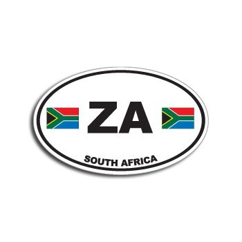 Za south africa country auto oval flag window bumper sticker