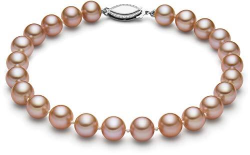 7mm Genuine Pink Pearl Bracelet - HinsonGayle AAA GEM 6.5-7mm Naturally Pink Round Freshwater Cultured Pearl Bracelet (14K White Gold)