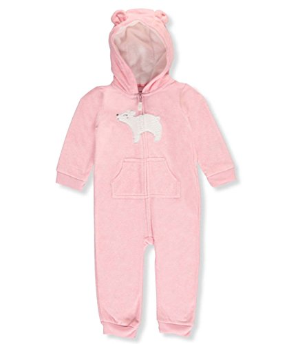 Carter's Baby Girls' Bear Patch Hooded Fleece Jumpsuit 6 Months (Carters Hooded Jumpsuit)