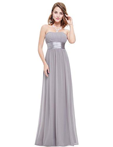 Ever Pretty Mujer Empire cintura hombro libre larga noche Ropa 09955 gris L/XL