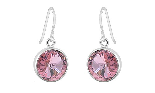 Women Round Drop Earrings With Swarovski Elements Crystals (Pink) Pink Swarovski Stones