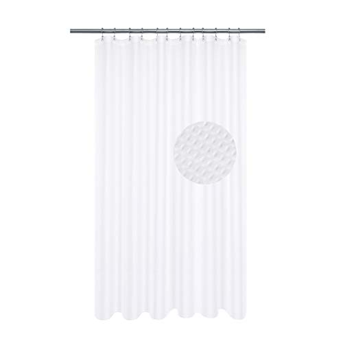 Long Shower Curtain with 78 inch Height, Fabric, Waffle Weave, Hotel Collection, Water Repellent, Machine Washable, 230 GSM Heavy Duty, White Pique Pattern Decorative Bathroom ()